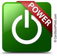 Power green square button red ribbon in corner