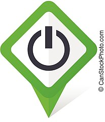 Power green square pointer vector icon in eps 10 on white background with shadow.