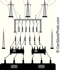 Power grid substation - vector illustration
