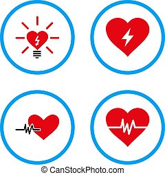 Power Heart Rounded Vector Icons