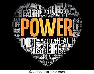 POWER heart word cloud, fitness