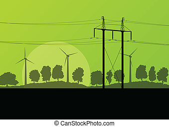 Power high voltage electricity tower line and wind generators in countryside forest nature landscape illustration background vector
