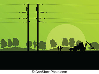 Power high voltage tower with engineer vector background