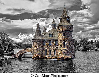Power House of the Boldt Castle on Ontario Lake, Canada - ...