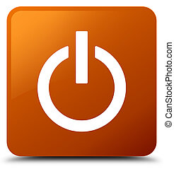 Power icon brown square button