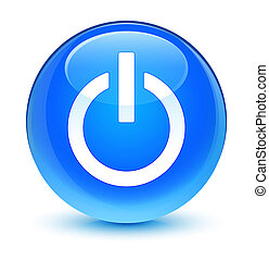 Power icon glassy cyan blue round button