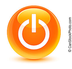 Power icon glassy orange round button