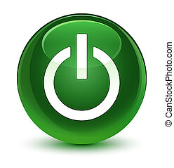 Power icon glassy soft green round button