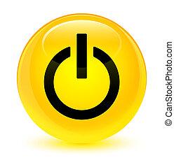 Power icon glassy yellow round button