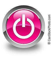 Power icon glossy pink round button