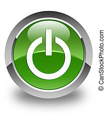 Power icon glossy soft green round button