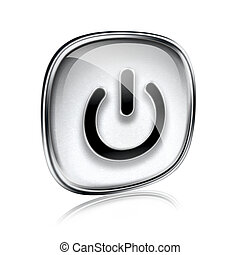 power icon grey glass, isolated on white background.