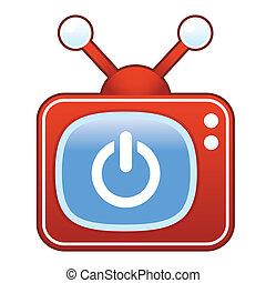 Power icon on retro television