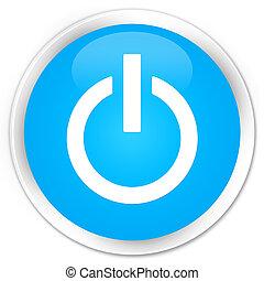 Power icon premium cyan blue round button
