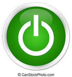 Power icon premium green round button