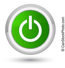 Power icon prime green round button