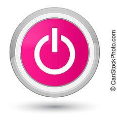 Power icon prime pink round button