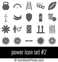 Power. Icon set 2. Gray icons on white background.