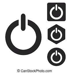Power icon set, monochrome