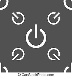 Power icon sign. Seamless pattern on a gray background. Vector