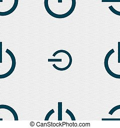 Power icon sign. Seamless pattern with geometric texture. Vector