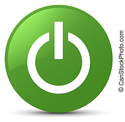 Power icon soft green round button