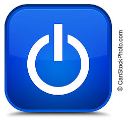 Power icon special blue square button