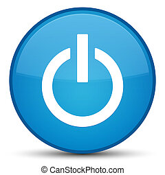 Power icon special cyan blue round button