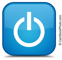 Power icon special cyan blue square button