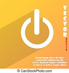 Power  icon symbol Flat modern web design with long shadow and space for your text. Vector