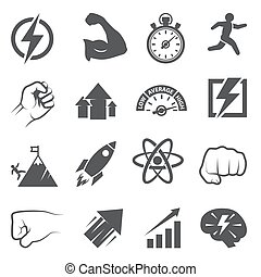 Power icons on white background