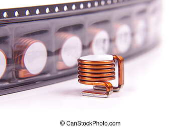 Power SMD air coil inductor for high power electronics isolated on the white background