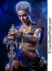 power irongirl - Portrait of a beautiful female warrior in...