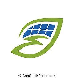 power leaf illustration - bolt in leaf with solar panel,...