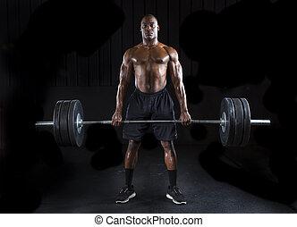 Power LIfter - Strong sexy man deadlifts a lot of weight