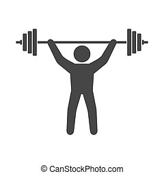Power Lifting Icon. Man with Barbell Sign. Vector