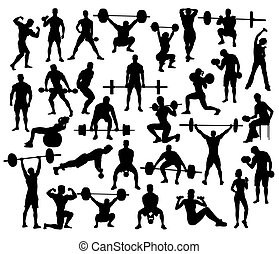Power Lifting Silhouettes, art vector design