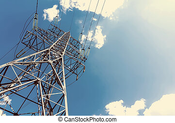 power line against sky background, retro style photography