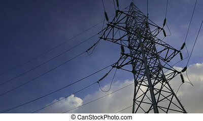 power line against the blue sky timelapse - power line...