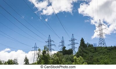 Power line - Clouds quickly swim over power line