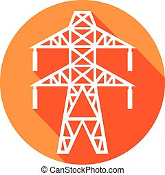 power line flat icon (electric transmission line symbol)