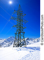 Power line high in the mountains. Elbrus