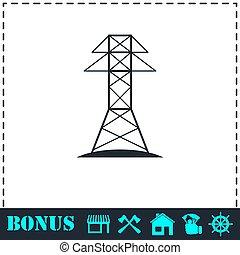 Power line icon flat