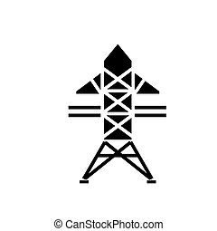 power line icon, vector illustration, black sign on isolated background