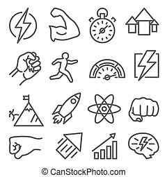 Power line icons on white background