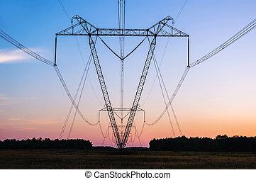 Power line in a field