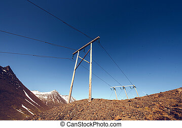 Power line in Iceland. Electricity