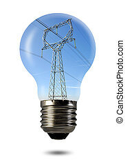 power line in the bulb isolated on white