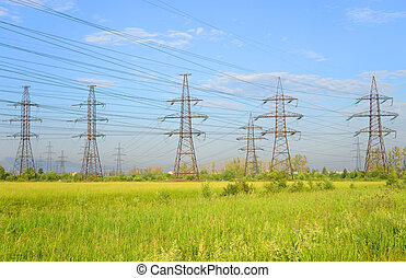 Power line in the countryside.