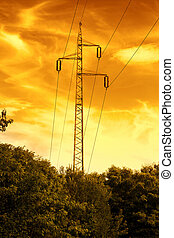 Power line in the sunset